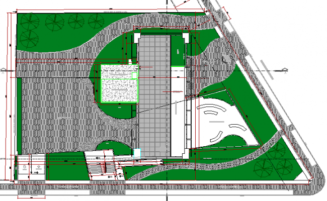 Landscaping details of multi-flooring college building dwg file