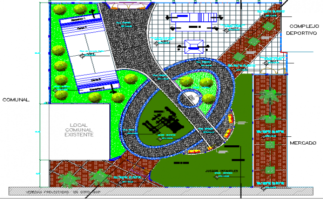Landscaping details of recreational park design dwg file