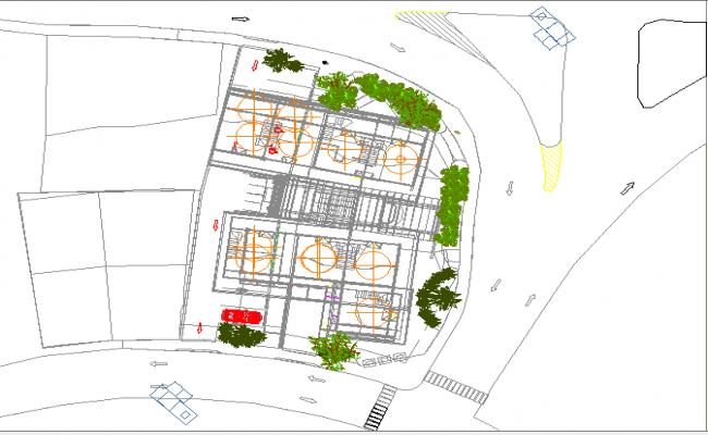 Landscaping details of shopping center dwg file