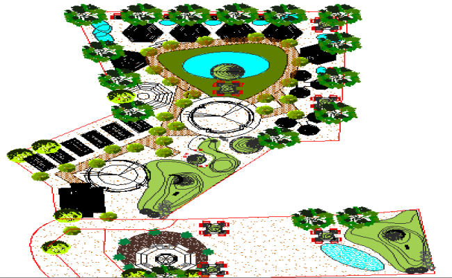 Landscaping details of single family bungalow garden dwg file