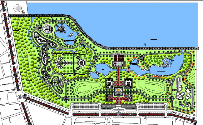 Landscaping details of theme park details with swimming pool dwg file
