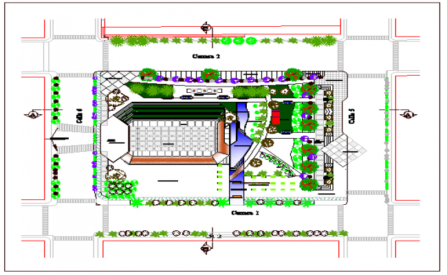Landscaping details of theme park of city dwg file