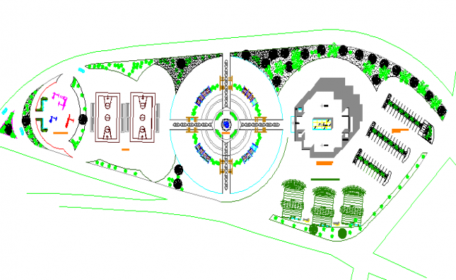 Landscaping details of two flooring government building dwg file