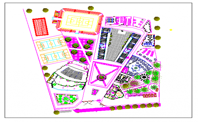 Landscaping details of urban high school dwg file