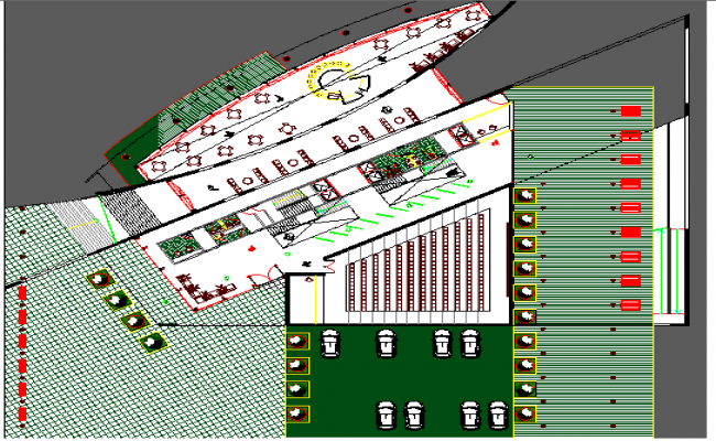 Landscaping details with structure of administration building dwg file