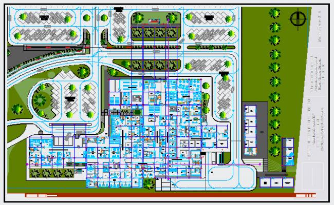 Landscaping layout design drawing of Hospital design