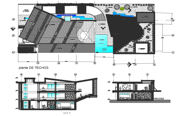 Landscaping layout plan and section detail dwg file