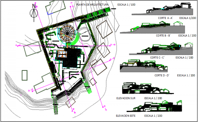 Landscaping layout plan and section plan detail dwg file