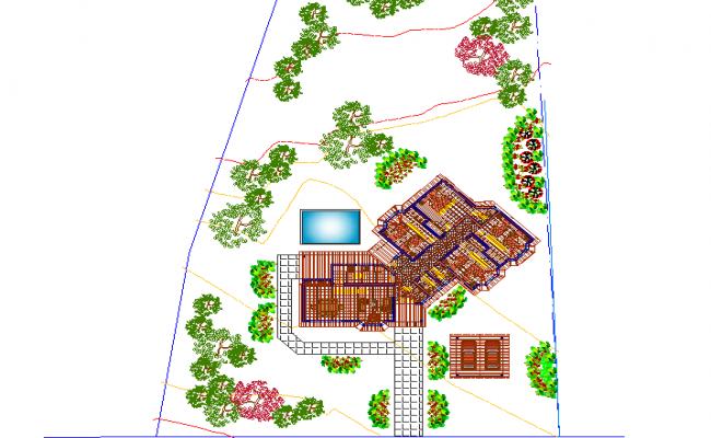 Landscaping layout plot detail dwg file