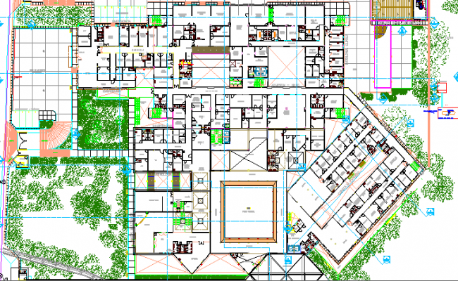 Landscaping of General Hospital Project dwg file