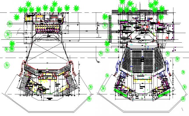 Landscaping office plan detail dwg file