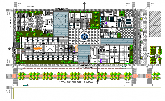 Landscaping plot civic center plan autocad file