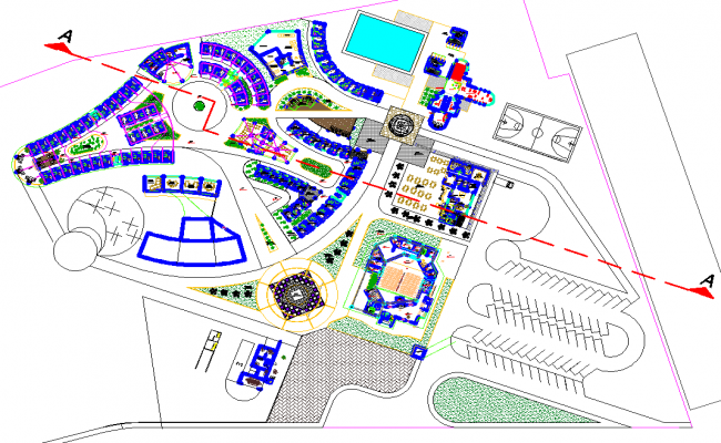 Landscaping plot detail dwg file