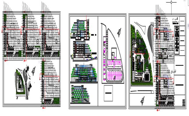 Landscaping resort building plan detail dwg file