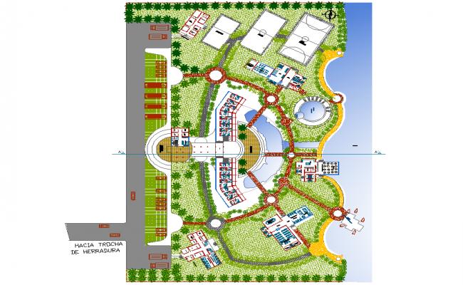 Landscaping resort oxapampa plan detail dwg file