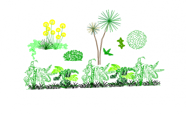 Landscaping trees and plants layout autocad file