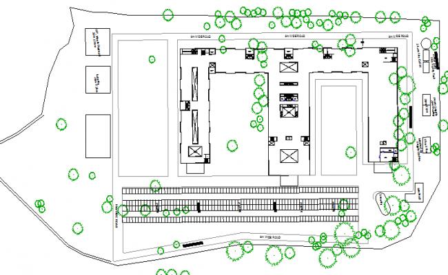 Landscaping view of multi-flooring hospital design dwg file