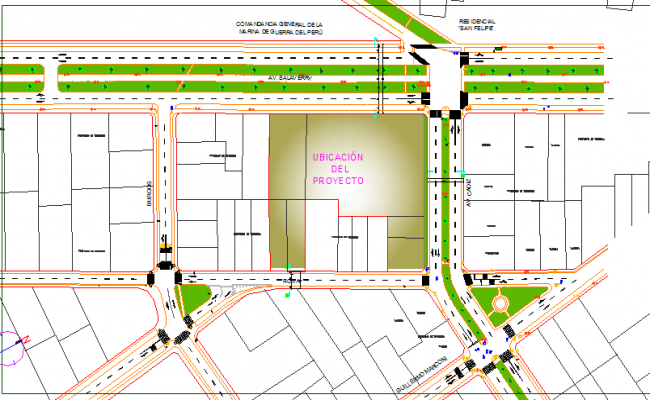 Landscaping view with site plan of offices of unique dwg file