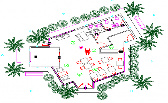 Landscaping view with structure details of office dwg file