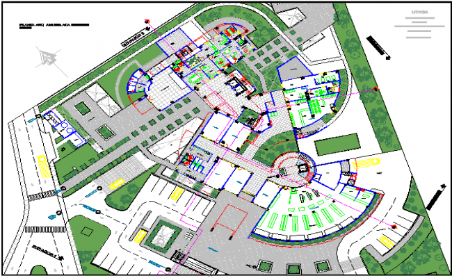Landscaping view with structure of corporate building dwg file