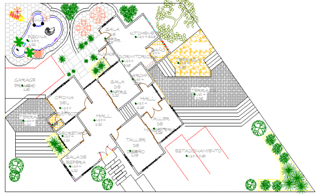 Landscaping with layout plan details of office work shop dwg file