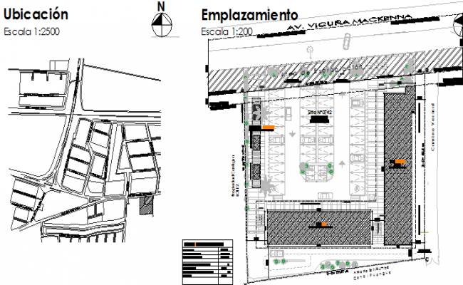 Landscaping with location map of shopping mall dwg file