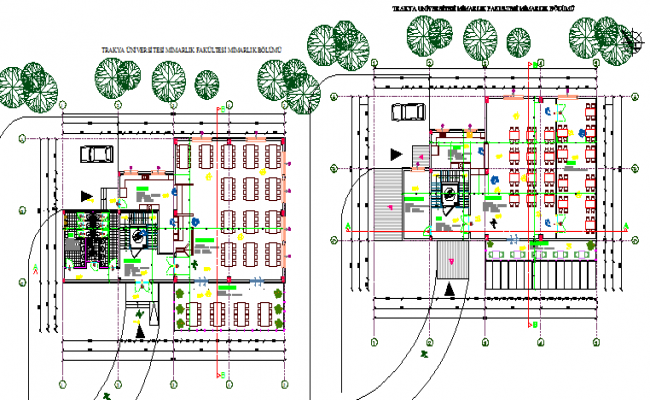 Landscaping with structural layout of family restaurant details dwg file