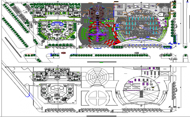 Landscaping with structural layout plan of shopping mall dwg file