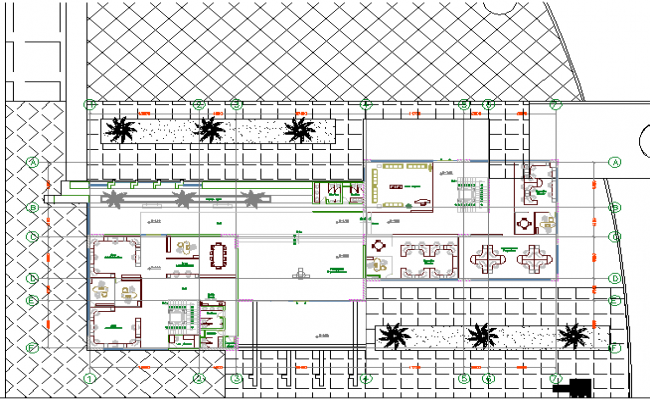 Landscaping structure details, administrative center office dwg file