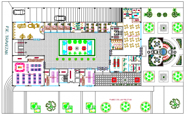 Landscaping with structure details of education building dwg file