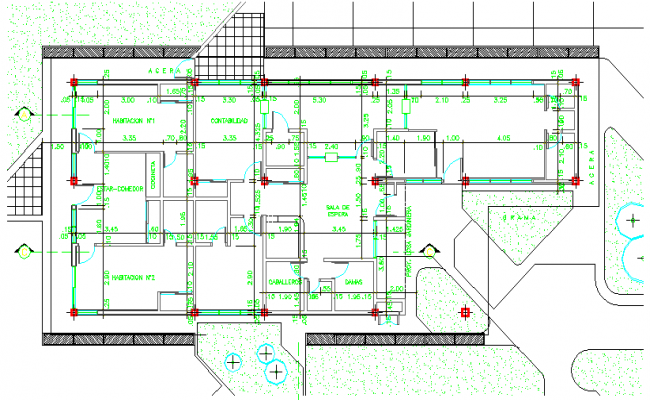 Landscaping with structure of corporate office module dwg file