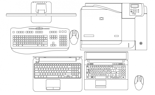 Laptop with its device plan with electronic view dwg file