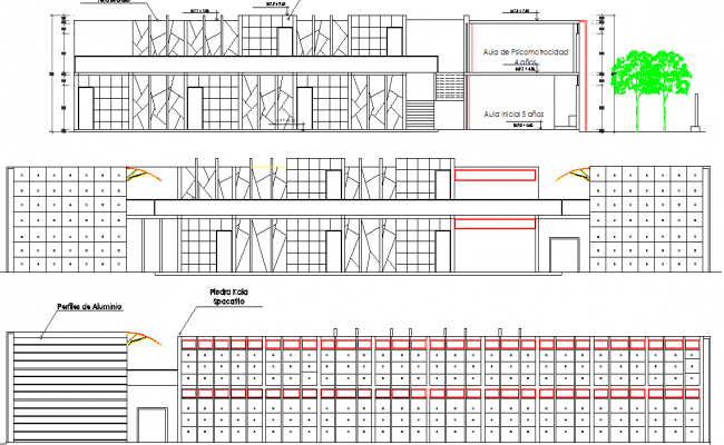 Large gate plan and elevation detail dwg file