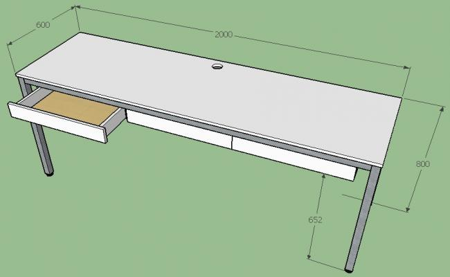 Large office table 3d block cad drawing details dwg file