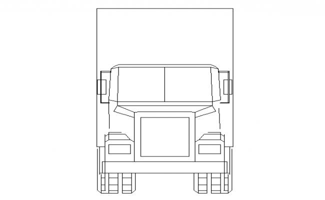 Large truck front cad block design dwg file