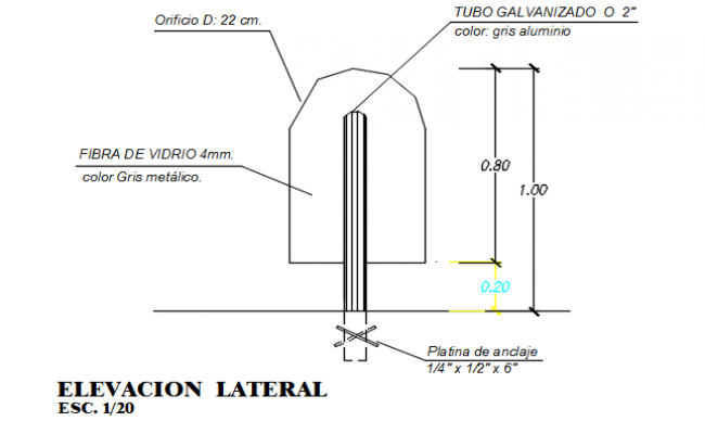 Lateral elevation detail dwg file