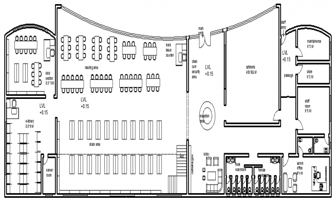 Elevation Plan Description : Latest architecture design of library elevation dwg file