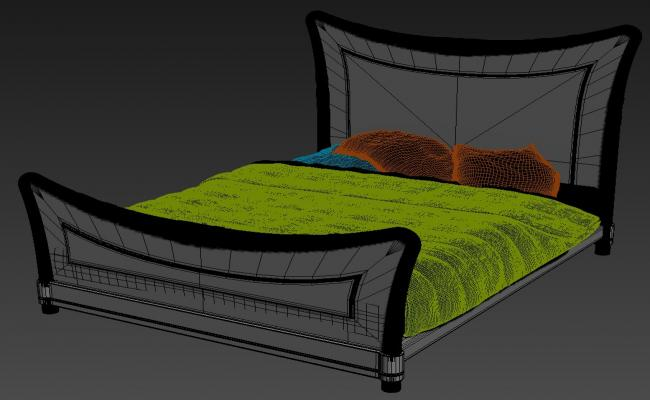 Latest Teak Wood Double Bed Designs 3D MAX File
