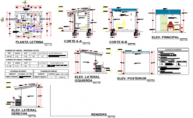 Latrine plan, elevation and section autocad file