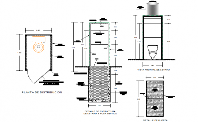 Latrines plan and elevation detail dwg file