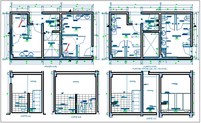 Law collage floor plan and different axis section view dwg file