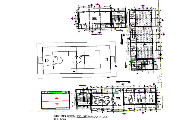 Layout commercial plan and landscaping detail dwg file