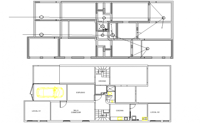 Layout ground plan and roof plan house detail dwg file