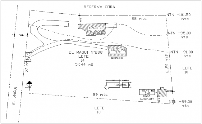 Layout of house with view of care taker with architecture view dwg file