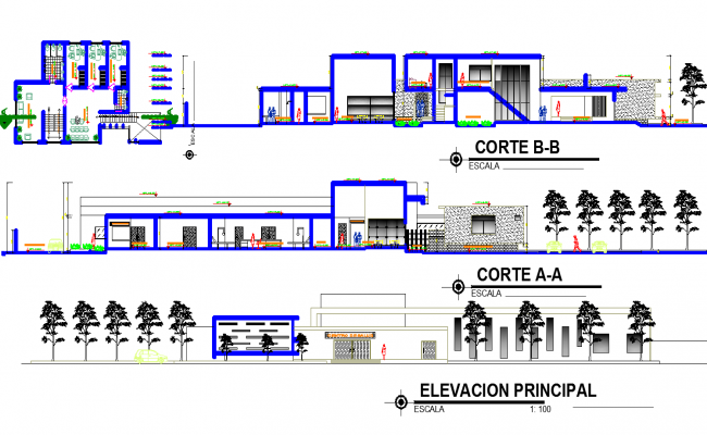 Layout plan and elevation design of building