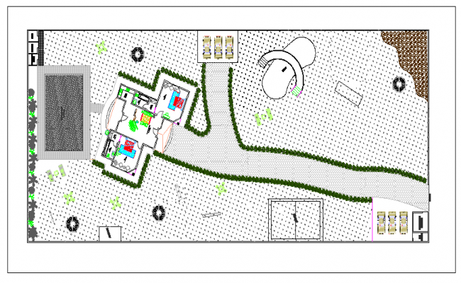 Layout plan and floor plan of a farm house dwg file
