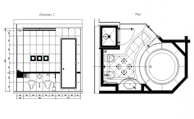 Layout plan and sectional elevation of bathroom dwg file