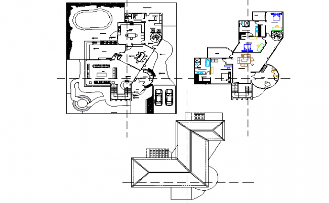 Layout plan bungalow detail dwg file