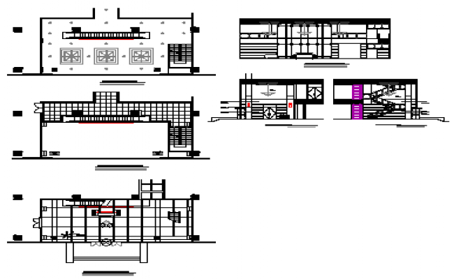 Layout plan design drawing of Commercial Lobby in lift side drawing