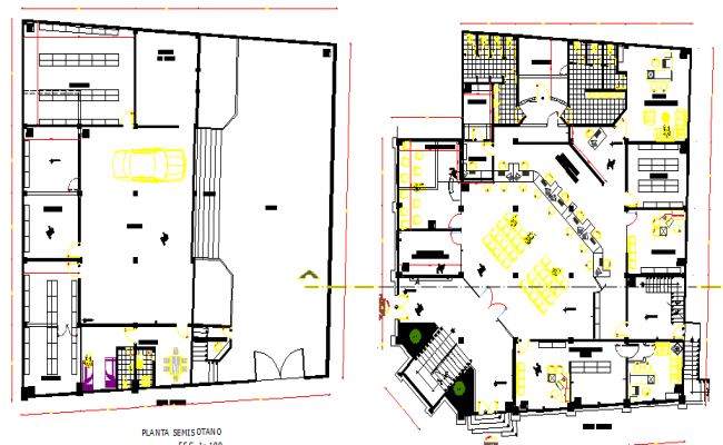 Layout plan of  Building collection and control elevation dwg file